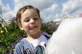 picture of candy cotton  - Child with cotton candy in the park - JPG