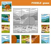 foto of yaks  - Puzzle Game for children with animals  - JPG