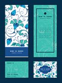 pic of swirly  - Vector blue green swirly flowers vertical frame pattern invitation greeting - JPG