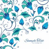 picture of swirly  - Vector blue green swirly flowers frame corner pattern background graphic design - JPG