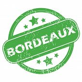 picture of bordeaux  - Round green rubber stamp with name Bordeaux and stars - JPG