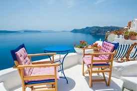 pic of greek-island  - Beautiful terrace with sea view - JPG