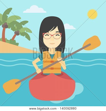 An asian sports woman riding in a kayak in the sea. Young woman traveling by kayak. Female kayaker p