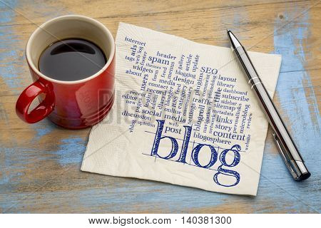 cloud of words or tags related to blogging and blog design - handwriting on a napkin with cup of cof