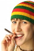 Young woman going to smoke