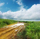 Estrada suja molhada após a chuva forte