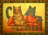 Hand made drawing. Domestic cats poster