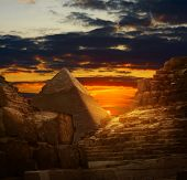 Sunset in Giza pyramids
