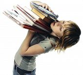 Young woman with heap of papers over white background