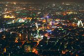 View of the night Damascus city from top of the Kasun mountain