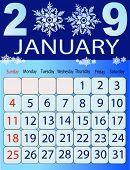 Calendars, New Year 2009, January, snowflakes