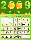 Calendars, New Year 2009, April, eastern eggs