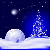Vector Christmas tree with falling star and Igloo