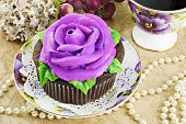 Chocolate Cupcake With Rose