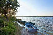Boats Near The Summer Lake Shore