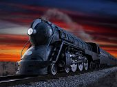 Dreyfuss J3A Streamliner locomotive known as the 20th Century Limited shot at twilight during a suns