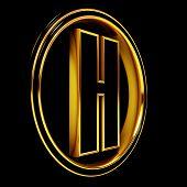 Gold Black Font Letter h