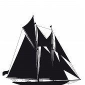 silhouette of a sailing yacht