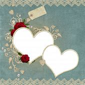 Vintage Elegant Hearts Frame With Roses, Lace And Pearls