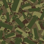 Постер, плакат: Army Texture Of Nuts And Bolts Soldier Green Camouflage Ornament Mechanic Khaki Background Milita
