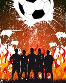 team on the fire background - football poster
