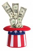 Uncle Sam hat with money