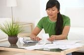 Woman working on finances