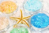 Five colors of bath salt for relaxing bath