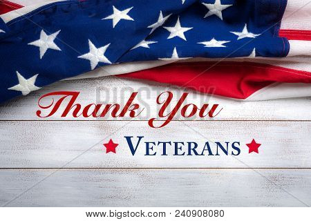 poster of American Flag On A White Worn Wooden Background With Veteran's Day Greeting