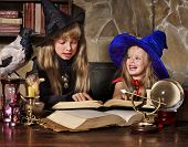 foto of witch ball  - Witch  children with crystal ball - JPG