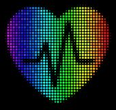 Pixel Bright Halftone Cardiology Icon Drawn With Spectral Color Tinges With Horizontal Gradient On A poster