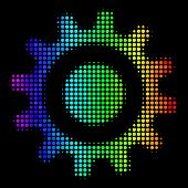Dotted Bright Halftone Cogwheel Icon Using Spectrum Color Tinges With Horizontal Gradient On A Black poster