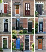 Collage of Dutch front doors. poster