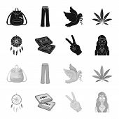 Amulet, Hippie Girl, Freedom Sign, Old Cassette.hippy Set Collection Icons In Black, Monochrome Styl poster