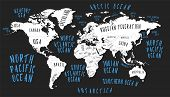 Earth Map With The Name Of The Countries Poster poster