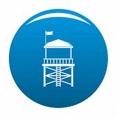 Rescue Tower Icon. Simple Illustration Of Rescue Tower Vector Icon For Any Design Blue poster