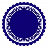 Round Rosette Seal Template. Vector Draft Element For Stamp Seals In Blue Color. poster