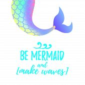 Vector Cartoon Style Illustration Of Cute Mermaid Tail. Mermay Concept. Mythical Marine Princess. b poster