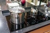 Close-up Of Stainless Steel Cooking Pot On Gas Stove In Contemporary Modern Home Kitchen. Selective  poster