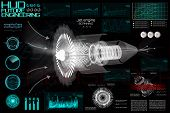 Jet Engine Of Airplane In Hud Style. Outline Style And Modern Interface Elements ( Dashboards Airpla poster