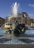 Fountains in Trafalgar Square in London.