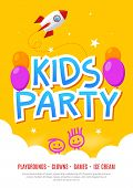 Kids Fun Party Celebration Flyer Design Template. Child Event Banner Decoration. Birthday Invitation poster