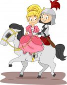 stock photo of fairy-tale  - Illustration of a Knight and Princess Riding a Horse - JPG