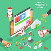Digital Marketing Agency. Flat Isometric Vector Concept Of Social Network, Sem, Media Communication, poster