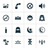 Religion Icons Set With Clock, Muslim, Adhaan And Other Meal Eaten Elements. Isolated Vector Illustr poster