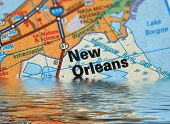 stock photo of katrina  - Map of New Orleans with a flood illustration - JPG