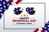 Happy Memorial Day Background Design With Usa Flag And Sunglasses. Vector Illustration poster