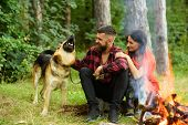 Couple In Love, Young Happy Family Spend Leisure With Dog. Family Leisure Concept. Couple Play With  poster