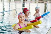 Active senior women in swimwear holding equipment for water aerobics while training in swimming-pool poster