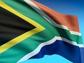 stock photo of nelson mandela  - Flag of South Africa - JPG